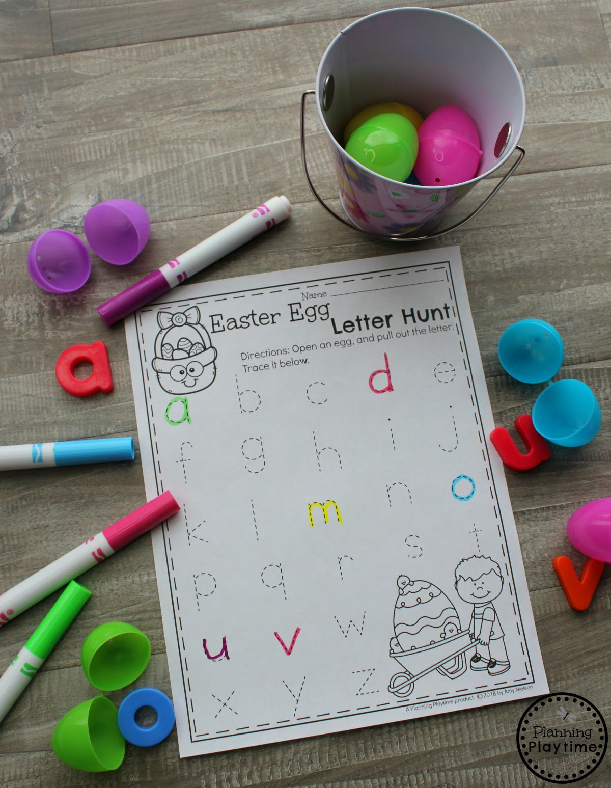 Preschool Easter Egg Hunt Game - Find and Trace the Alphabet Letters. #easter #preschool #easteractivities #easterpreschool #planningplaytime #letterworksheets #preschoolletters
