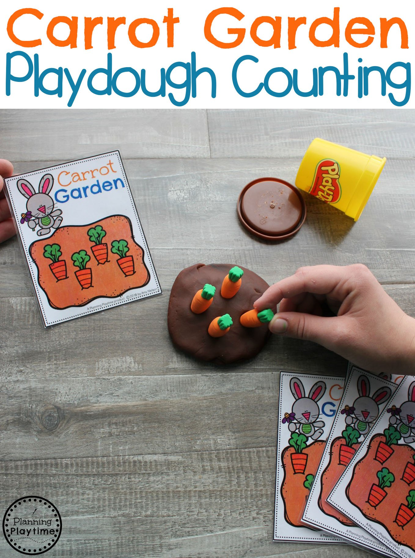 Preschool Easter Games - Carrot Garden Counting #easter #preschool #easteractivities #easterpreschool #planningplaytime #preschoolmath #preschoolcounting