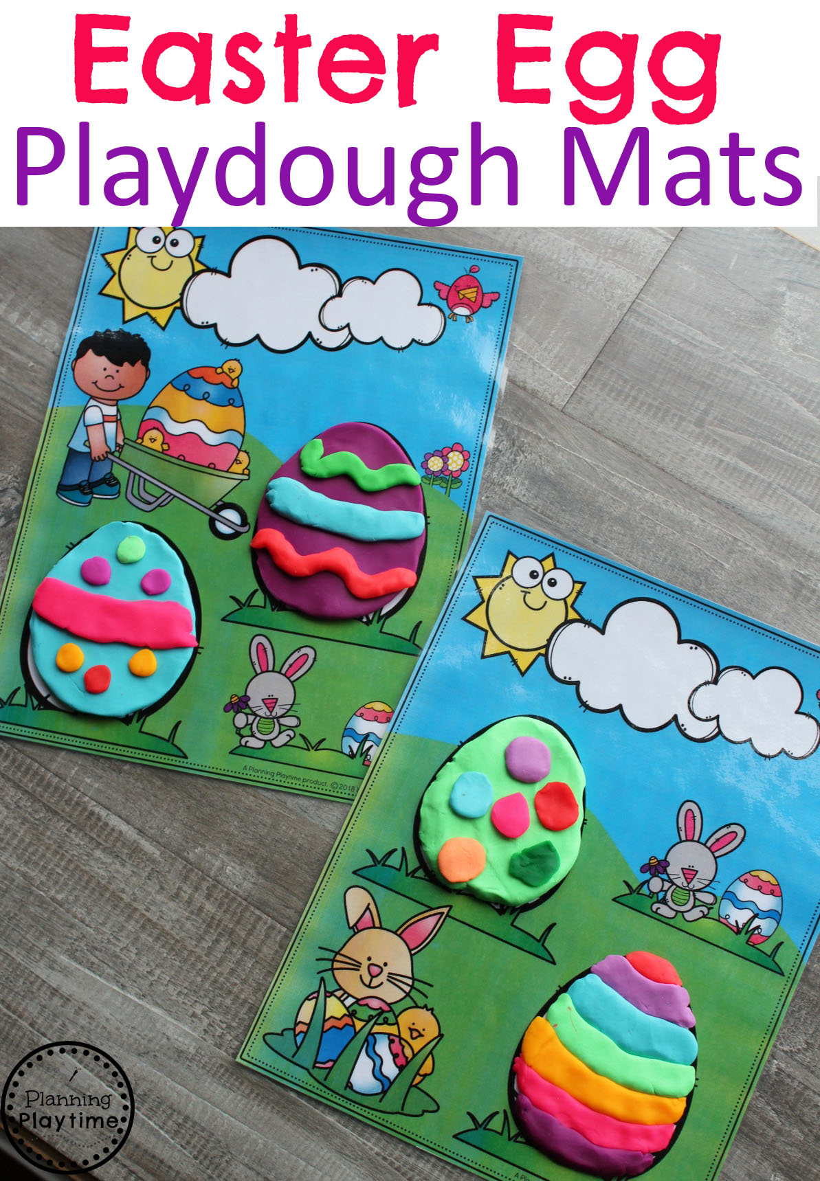 Preschool Easter Games - Easter Egg Playdough Mats #easter #preschool #easteractivities #easterpreschool #planningplaytime #playdoughmats #creativeplay