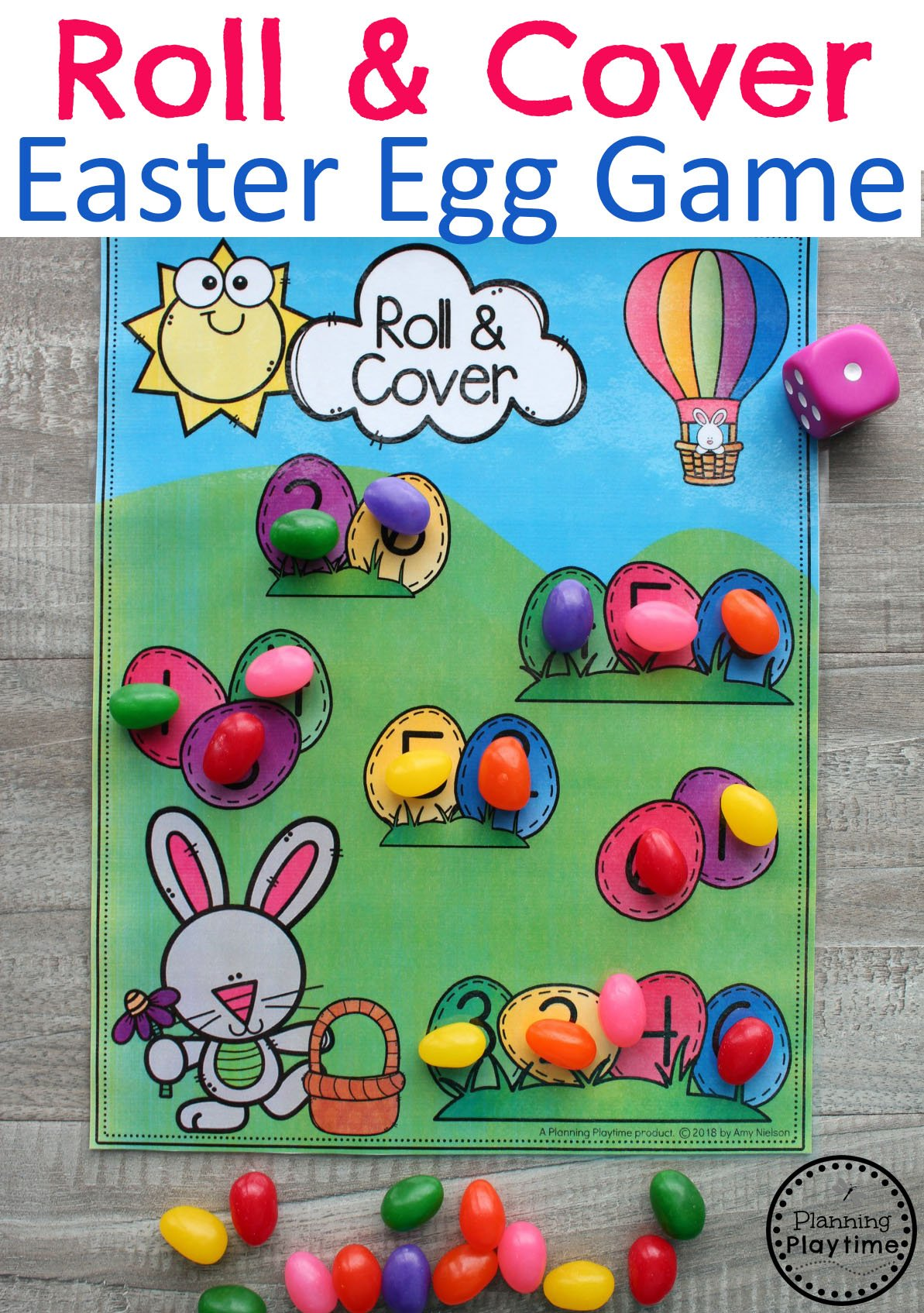 Preschool Easter Games - Roll and Cover Math fun. #easter #preschool #easteractivities #easterpreschool #planningplaytime #mathgames #mathworksheets #preschoolmath