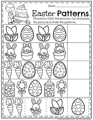 Preschool Easter Worksheets - Patterns practice for kids. #easter #preschool #easteractivities #easterpreschool #planningplaytime #easterworksheets #patternsworksheets #preschoolpatterns