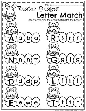 Preschool Letter Matching Worksheets for Easter and Spring. So fun! #easter #preschool #easteractivities #easterpreschool #planningplaytime #easterworksheets #lettermatching