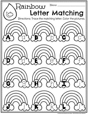 Preschool Letter Worksheets - Letter Matching and Tracing #planningplaytime #preschoolworksheets #rainbowtheme #letterworksheets #alphabetworksheets