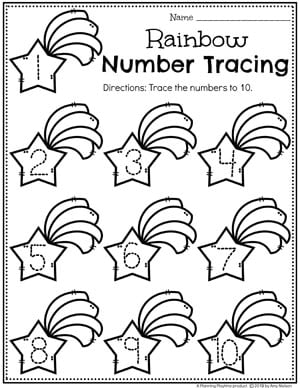 Preschool Math Worksheets - Rainbow Number Tracing #planningplaytime #preschoolworksheets #rainbowtheme #numbersworksheets #mathworksheets