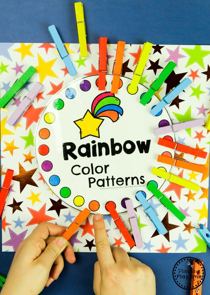 Preschool Rainbow Activities - Color Matching and Fine Motor #planningplaytime #preschoolactivities #rainbows #preschoolprintables #playbased #preschoolworksheets #finemotorskills