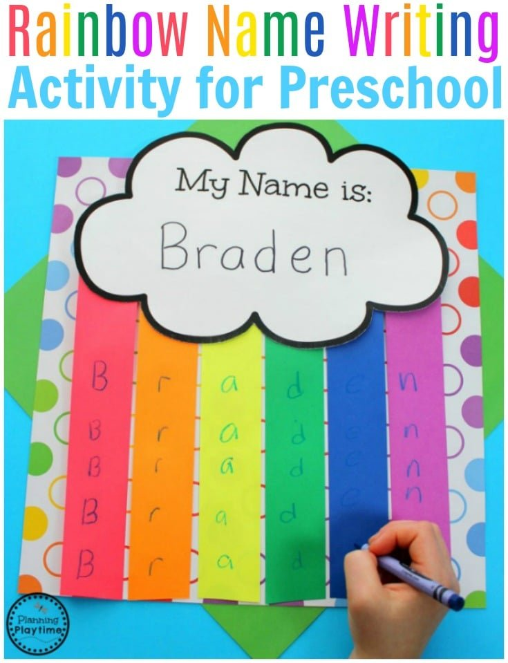 Preschool Rainbow Activities - Name Writing Practice. #preschool #rainbowcraft #preschoolcraft #namecraft #rainbows