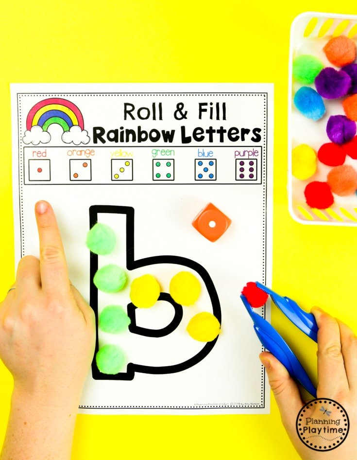 Preschool Rainbow Activities - Roll & Fill Rainbow Letters #planningplaytime #preschoolactivities #rainbows #preschoolprintables #playbased #preschoolworksheets