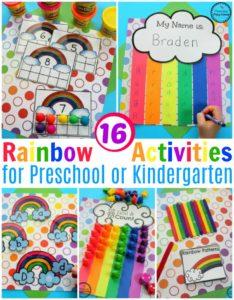 Preschool Rainbow Activities for Spring. #rainbows #preschool #kindergarten #springpreschool #preschoolmath #preschoolcrafts #counting