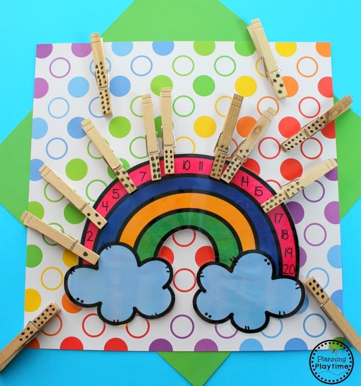 Preschool Rainbow Counting Activity for Kids. #preschool #preschoolmath #counting #rainbows #springpreschool