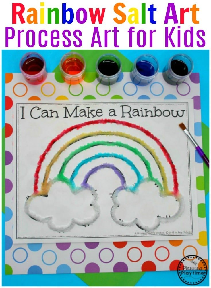 Preschool Rainbow Craft - Salt Painting Process Art. #rainbowcrafts #saltpainting #processart #preschool #springpreschool #rainbows