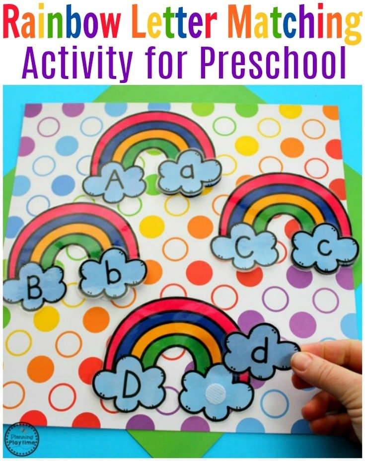 Preschool Rainbow Letter Matching Game for Spring. #preschool #springpreschool #rainbows #letterrecognition #lettermatching