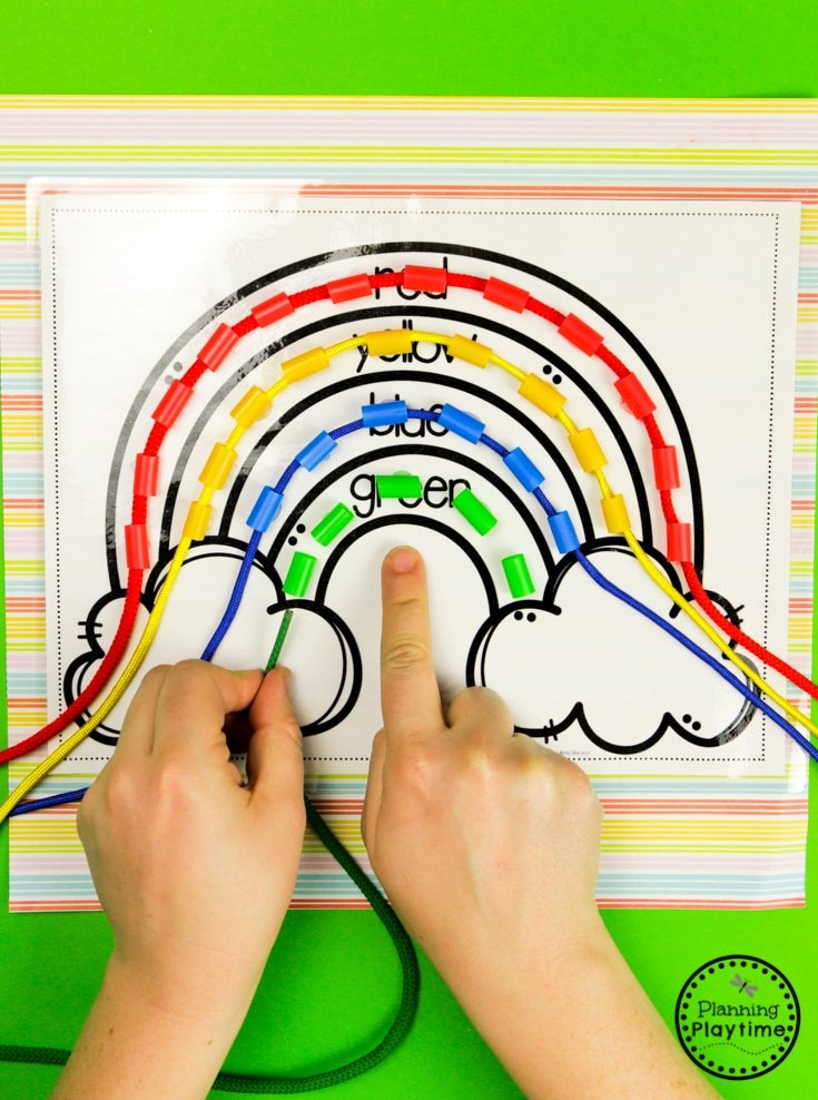 Rainbow Activities - Color Threading Fine Motor Activity #planningplaytime #preschoolactivities #rainbows #preschoolprintables #playbased #preschoolworksheets #finemotorskills #rainbowcrafts