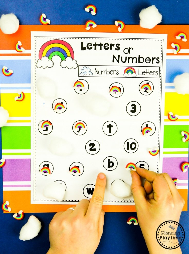 Rainbow Games for Preschool - Letter or Number Sorting #planningplaytime #preschoolactivities #rainbows #preschoolprintables #playbased #preschoolworksheets