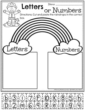 Rainbow Preschool Worksheets - Number or Letter Sort. #letterworksheets #preschoolworksheets #springworksheets #rainbowworksheets #preschool