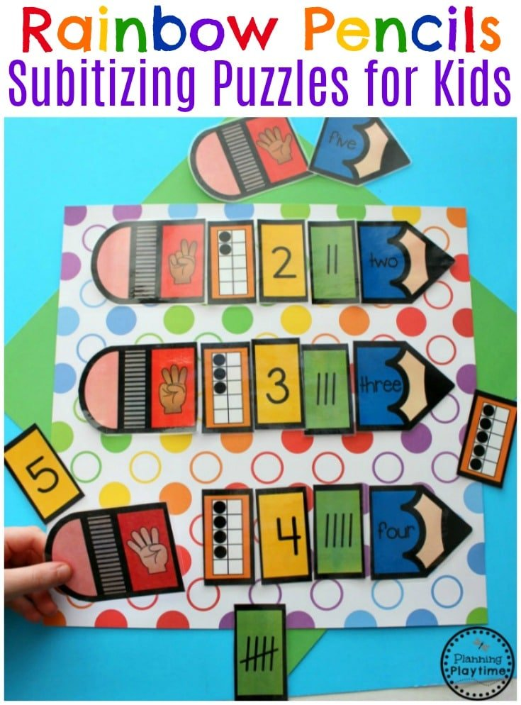Rainbow Subitizing Puzzles for Preschool or Kindergarten #preschool #counting #subitizing #kindergartenmath #rainbows
