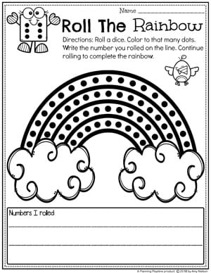 Roll, Count and Color Rainbow Preschool #countingworksheets #preschoolworksheets #springworksheets #preschool