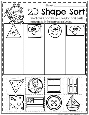 Shapes Worksheets  Planning Playtime D Shapes Worksheet For Kindergarten Math Kindergarten Kindergartenmath  Shapes Geometry Mathworksheets