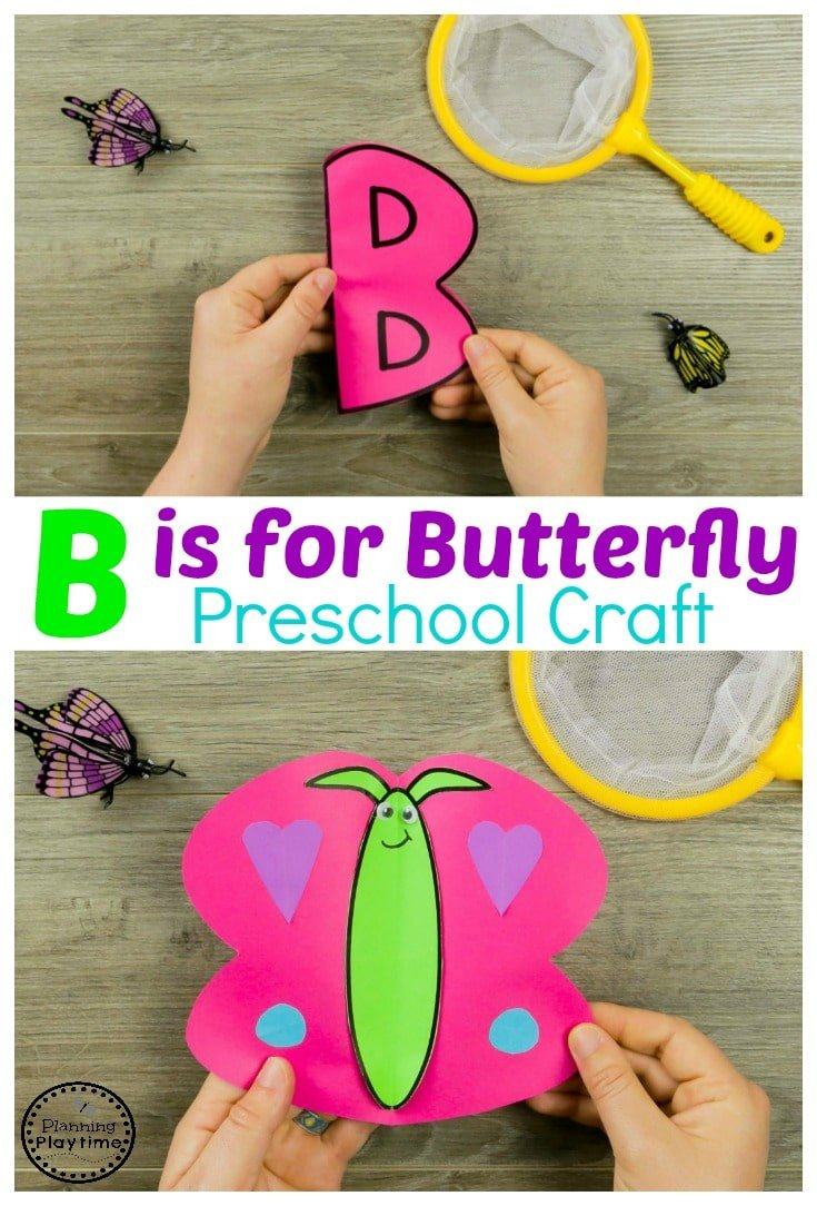 B is for Butterfly Craft - Preschool Bug Crafts #preschool #bugs #bugtheme #bugactivities #preschoolactivities #preschoolcrafts #alphabetcrafts #lettercrafts