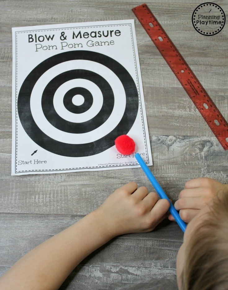 Blow and Compare Measurement Game for Kindergarten Math. #kindergartenmath #measurement