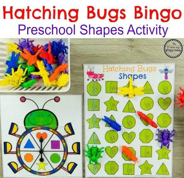 Bug Shapes Bingo Game for Preschoolers. #preschool #bugs #bugtheme #bugactivities #preschoolactivities #shapes #preschoolshapes