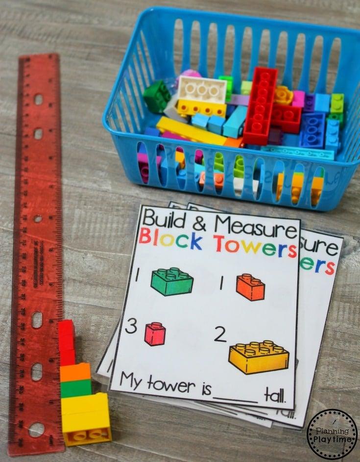 Build and Measure - Data and Measurement Activities for Kindergarten math #kindergartenmath #measurement