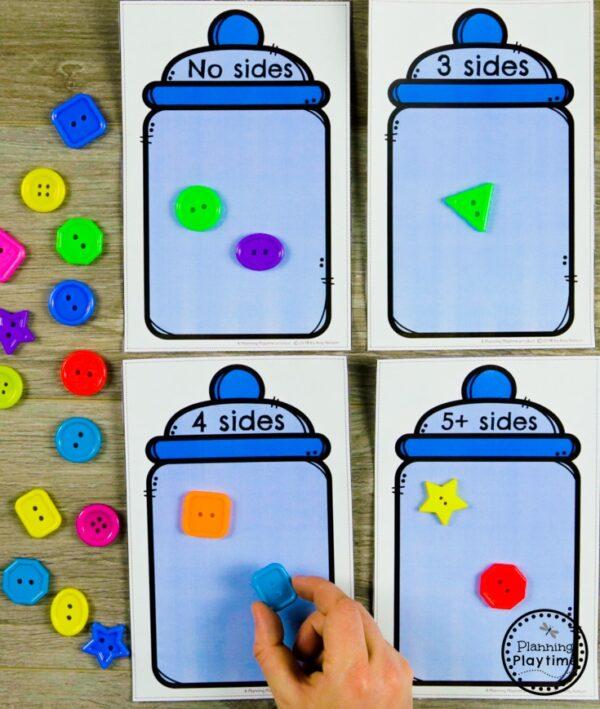 Classifying Shapes - Kindergarten Math Game #kindergarten #kindergartenmath #shapes #geometry #kindergartenworksheets #mathgames #planningplaytime