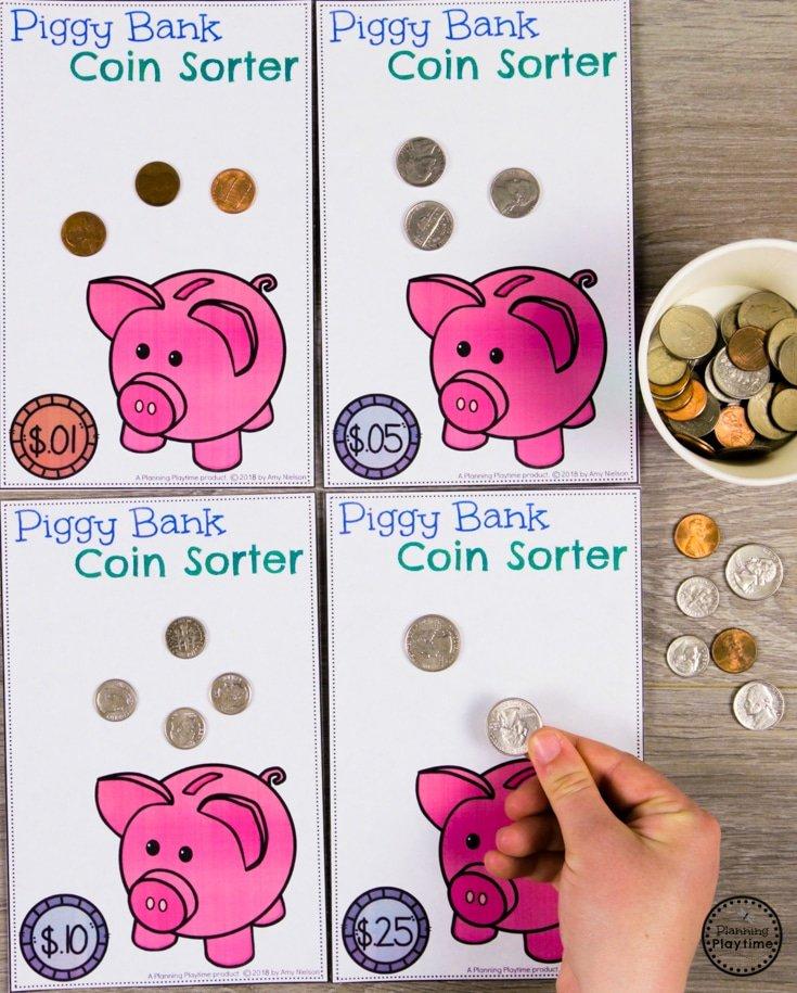 Coin Sorting Activity for Kids #kindergartenmath #kindergarten #kindergartencenters #coinrecognition