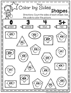 Shapes Worksheets  Planning Playtime  Color By Sides  Kindergarten Math Worksheets Kindergarten  Kindergartenmath Shapes Geometry