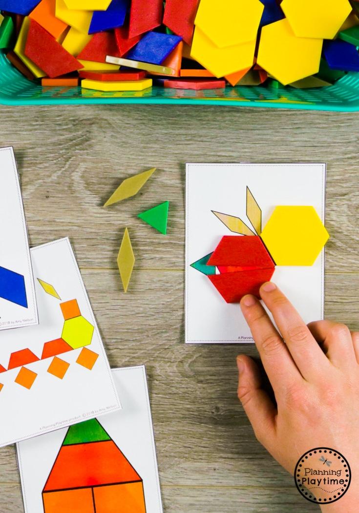 Composing Pictures with Pattern Blocks - Kindergarten Math Game #kindergarten #kindergartenmath #shapes #geometry #kindergartenworksheets #mathgames #planningplaytime