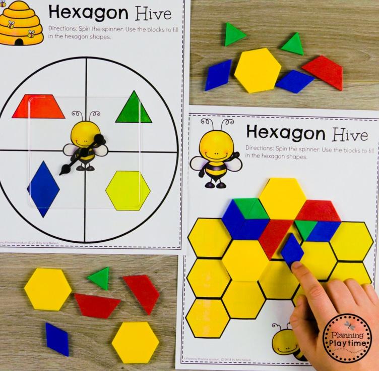 Composing Shapes - Math Game for Kindergarten #kindergarten #kindergartenmath #shapes #geometry #kindergartenworksheets #mathgames #planningplaytime
