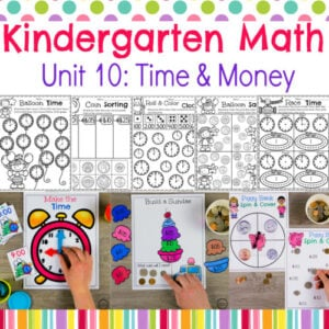 Time and Money Worksheets and Centers for Kindergarten Math