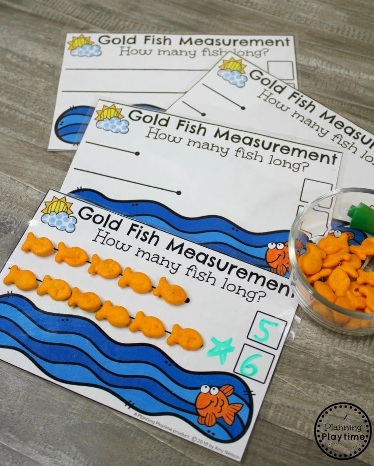 Cute Goldfish Measurement Activity for Kindergarten Math. #kindergartenmath #measurement