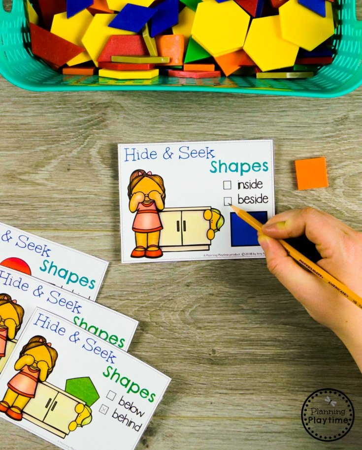 Describing Shapes with Prepositions for Kindergarten Math Shapes Unit#kindergarten #kindergartenmath #shapes #geometry #kindergartenworksheets #mathgames #planningplaytime
