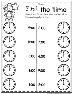 Digital and Analog Clock Matching - Telling Time Worksheets for Kids. #kindergartenmath #kindergarten #kindergartencenters #tellingtime #timeworksheets #tellingtimeworksheets