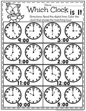 Digital and Analog Clocks - Telling Time Worksheets #kindergartenmath #kindergarten #kindergartencenters #tellingtime #timeworksheets #tellingtimeworksheets