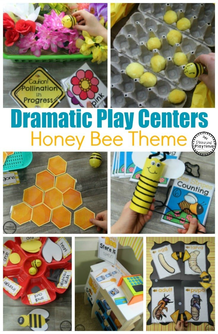 Dramatic Play Centers for Preschool - Honey Bees Theme #preschool #dramaticplay #dramaticplaycenter #preschoolideas #planningplaytime