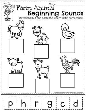 Farm Animal Beginning Sounds - Spring Preschool Worksheets