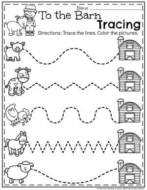Farm Worksheets for Preschool - Barnyard Tracing #preschool #farmtheme #springpreschool #preschoolworksheets #preschoolfun #springworksheets #tracingworksheets