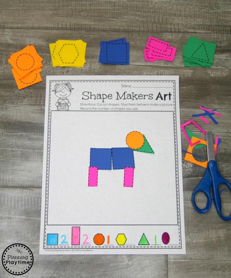 Fun Composing Shapes Math Activity for Kindergarten #kindergarten #kindergartenmath #shapes #geometry #kindergartenworksheets #mathgames #planningplaytime