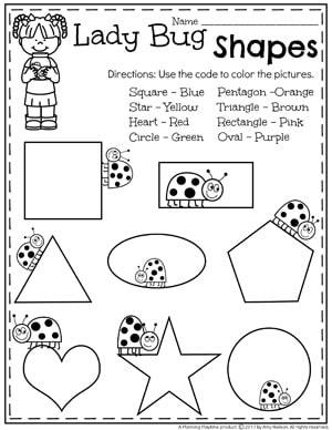 Fun Ladybugs Shape Worksheet - Color by Shape for Preschool #preschool #bugs #bugworksheets #preschoolworksheets #shapesworksheets