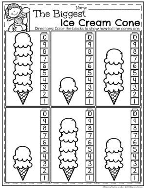 Kindergarten Math Worksheets - Ice Cream Measurement #kindergartenmath #measurement #mathworksheets #kindergartenworksheets #measurementworksheets