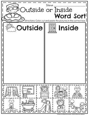 Kindergarten Math Worksheets - Measurement and Data Sorting Inside or Outside #kindergartenmath #measurement #mathworksheets #kindergartenworksheets #measurementworksheets