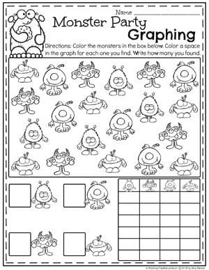 Kindergarten Math Worksheets - Measurement and Graphing with Monsters. #kindergartenmath #measurement #mathworksheets #kindergartenworksheets #measurementworksheets