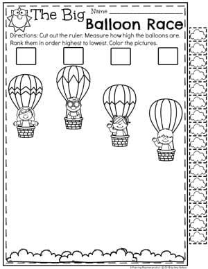 measurement worksheets  planning playtime kindergartenmath measurement  kindergarten measurement worksheets  the  big balloon race non standard measurement kindergartenmath measurement