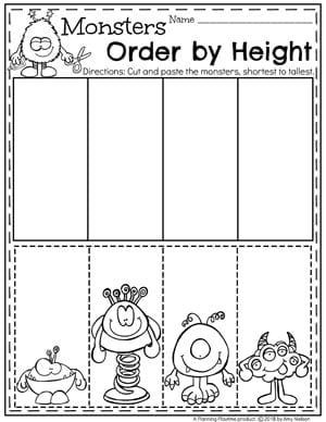 measurement worksheets  planning playtime  kindergarten measurement worksheets for math monsters order by size  kindergartenmath measurement  kindergarten measurement