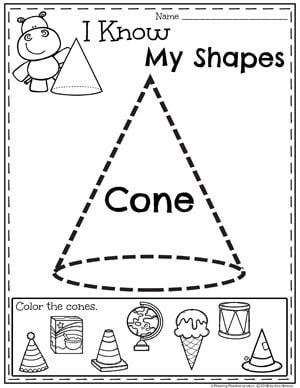 Kindergarten Shapes Worksheets - Cones #kindergarten #kindergartenmath #shapes #geometry #mathworksheets #shapesworksheets #kindergartenworksheets