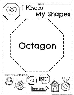Kindergarten Shapes Worksheets - Octagons #kindergarten #kindergartenmath #shapes #geometry #mathworksheets #shapesworksheets #kindergartenworksheets