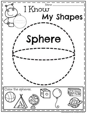 Kindergarten Shapes Worksheets - Spheres #kindergarten #kindergartenmath #shapes #geometry #mathworksheets #shapesworksheets #kindergartenworksheets