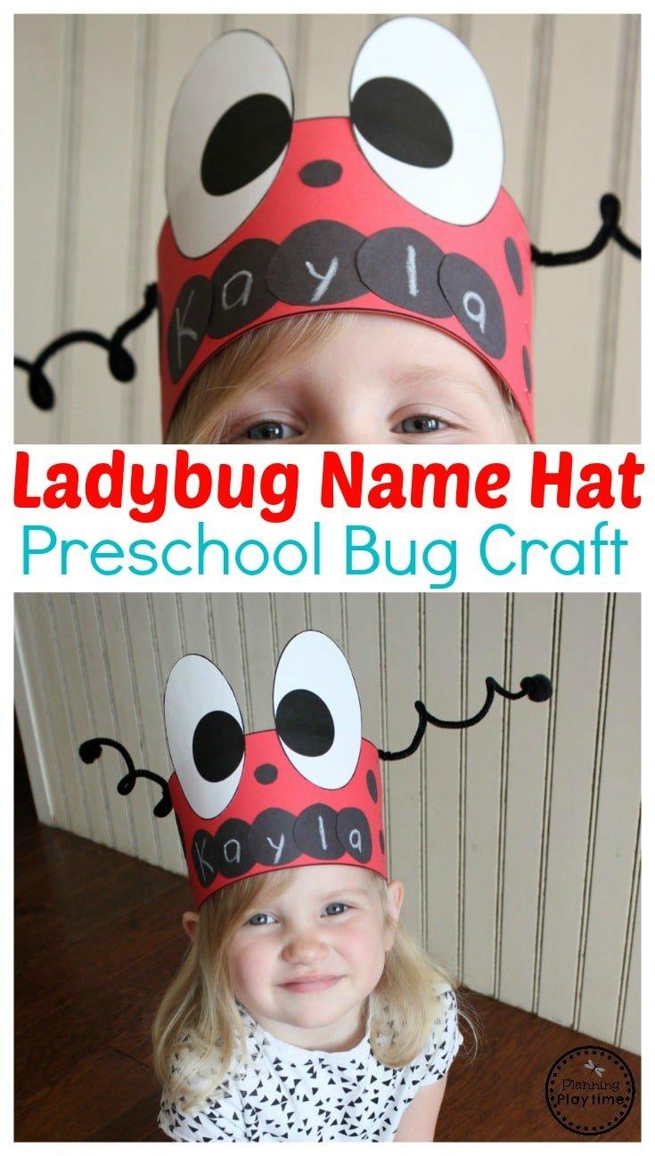 Lady Bug Hat Craft for Preschool - Preschool Name Crafts #preschool #bugs #bugtheme #bugactivities #preschoolactivities #preschoolcrafts #namecrafts #bughats