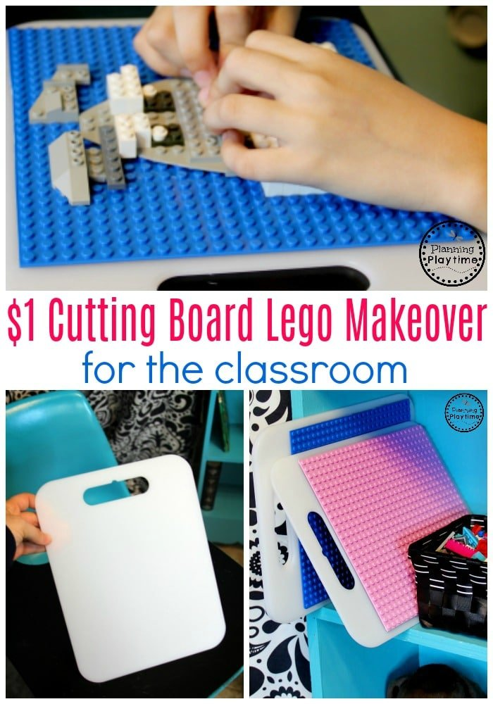 Lego Baseplate Makeover with $1 cutting boards. Great for a Lego classroom idea. #lego #legobaseplates #legomakeover #legoideas #legohacks #legoclassroom #ad